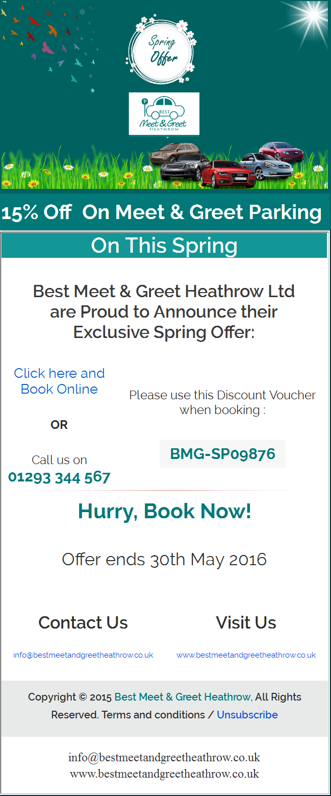15% Spring Deal 13 May 2016